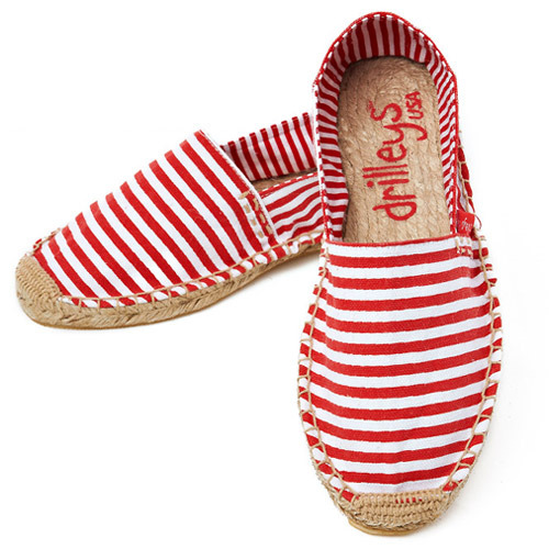 Primary Red Wide Stripe Espadrille