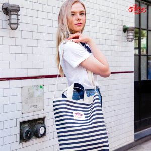 Drilleys Eco Cross Bag Navy-Stripe